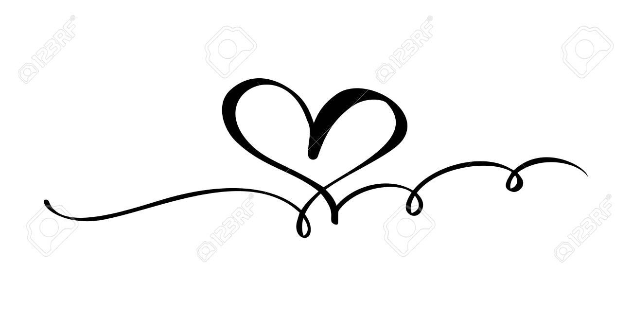Hand drawn Heart love sign. Romantic calligraphy vector illustration.
