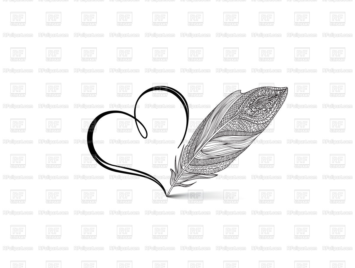 Feather and heart calligraphic hand drawn sign Stock Vector Image.