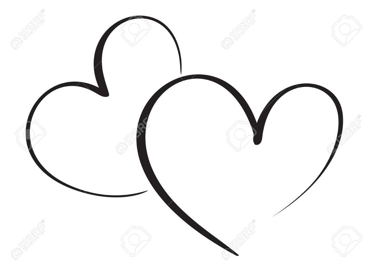 calligraphy heart art for design. Vector illustration EPS10.
