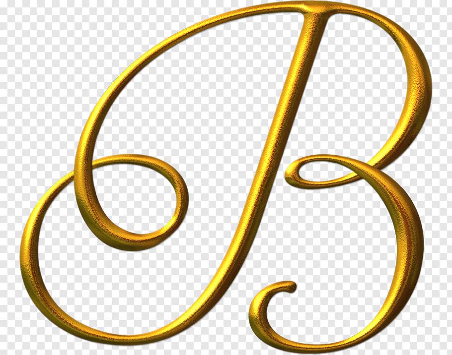 Gold B letter, Letter Alphabet Calligraphy Font, LETRAS free.