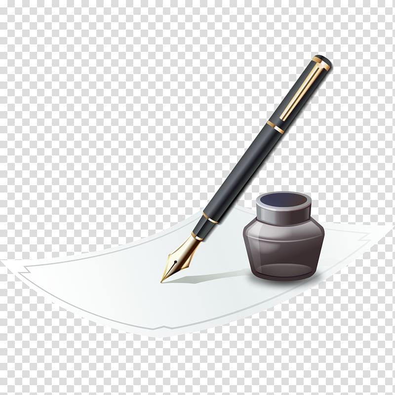 Fountain pen Paper Ink, Pen and ink transparent background PNG.