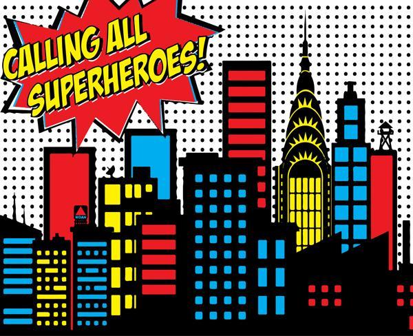 Calling All Superheroes Backdrop.