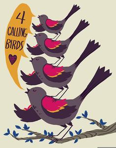 Four Calling Birds Clipart.