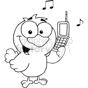 black and white calling bird clipart. Royalty.
