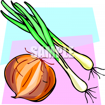 Food Clip Art Picture of Scallions and a Yellow Onion.