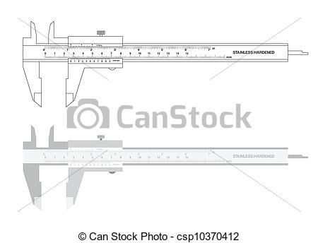 Vector Clip Art of Vernier caliper tool vector illustration.