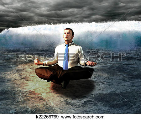 Stock Illustration of A serene businessman. The calm before the.