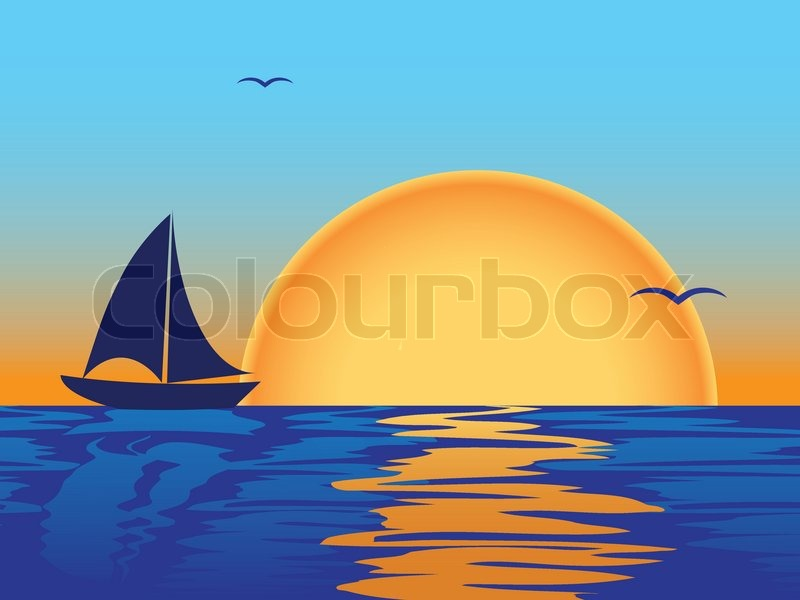 Sea sunset with boat and seagulls silhouettes.