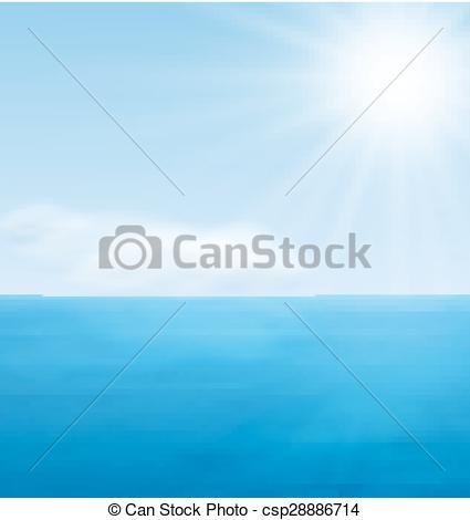 Vector Clip Art of Sea Landscape Calm Blue Ocean.