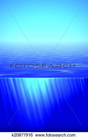 Clip Art of Sunshine over calm water k20877916.