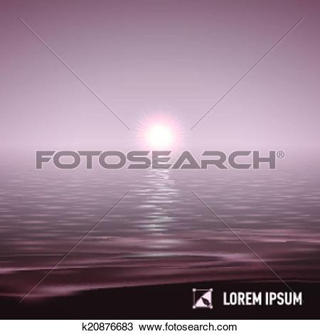 Clipart of Sunshine over calm water, toned image k20876683.