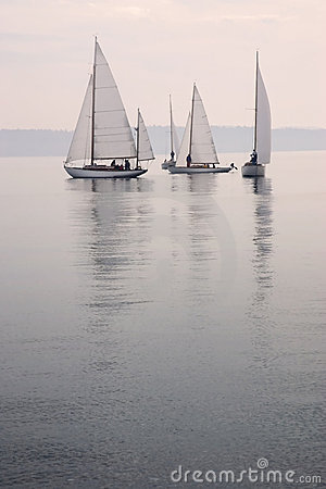 Sailboats In Calm Water Stock Photography.