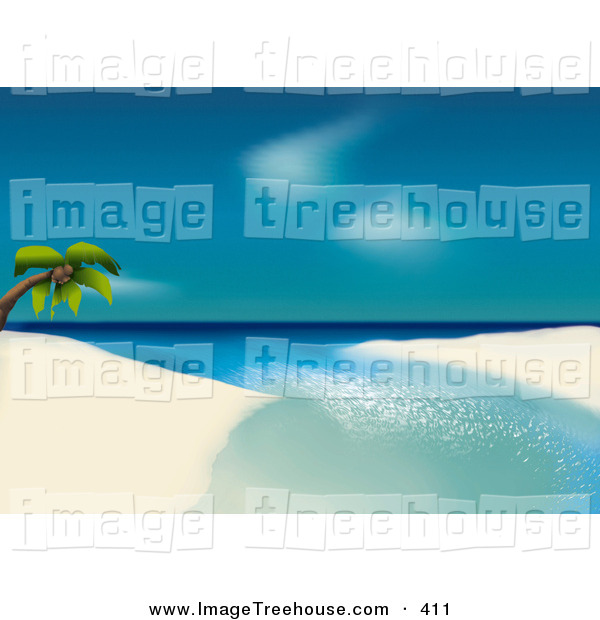 Clipart of a Lone Coconut Palm Tree Leaning over Calm Water on a.