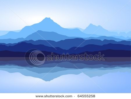 Vector Clip Art Picture of Hazy Mountains in the Distance.