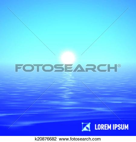 Clipart of Sunshine over calm water k20876682.