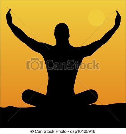 EPS Vector of Man meditating at sunset.