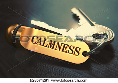 Clipart of Calmness Concept. Keys with Golden Keyring. k28574281.