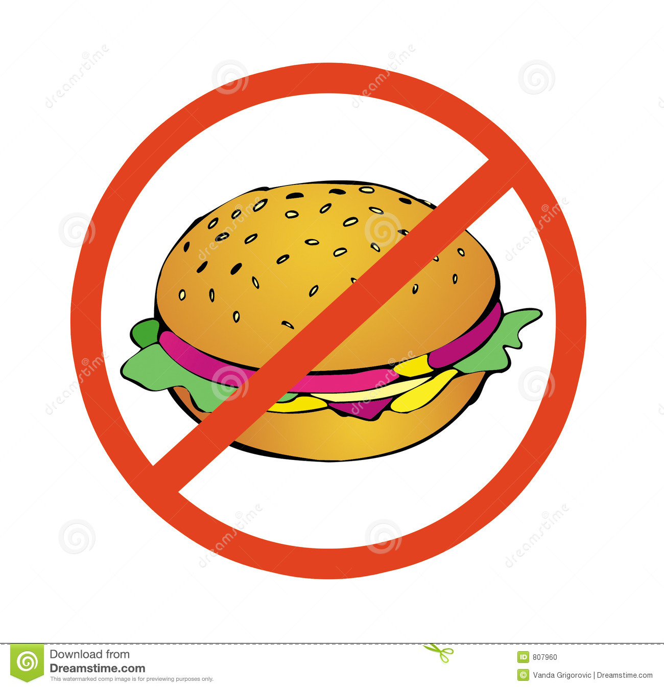 No To High Calorie Food Stock Photo.