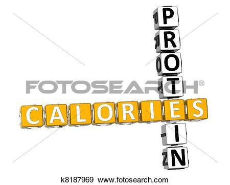 Stock Illustration of 3D Calories Protein Crossword k8187969.