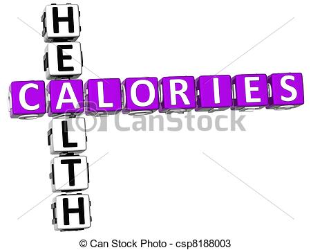 Clipart of 3D Calories Facts Crossword on white background.