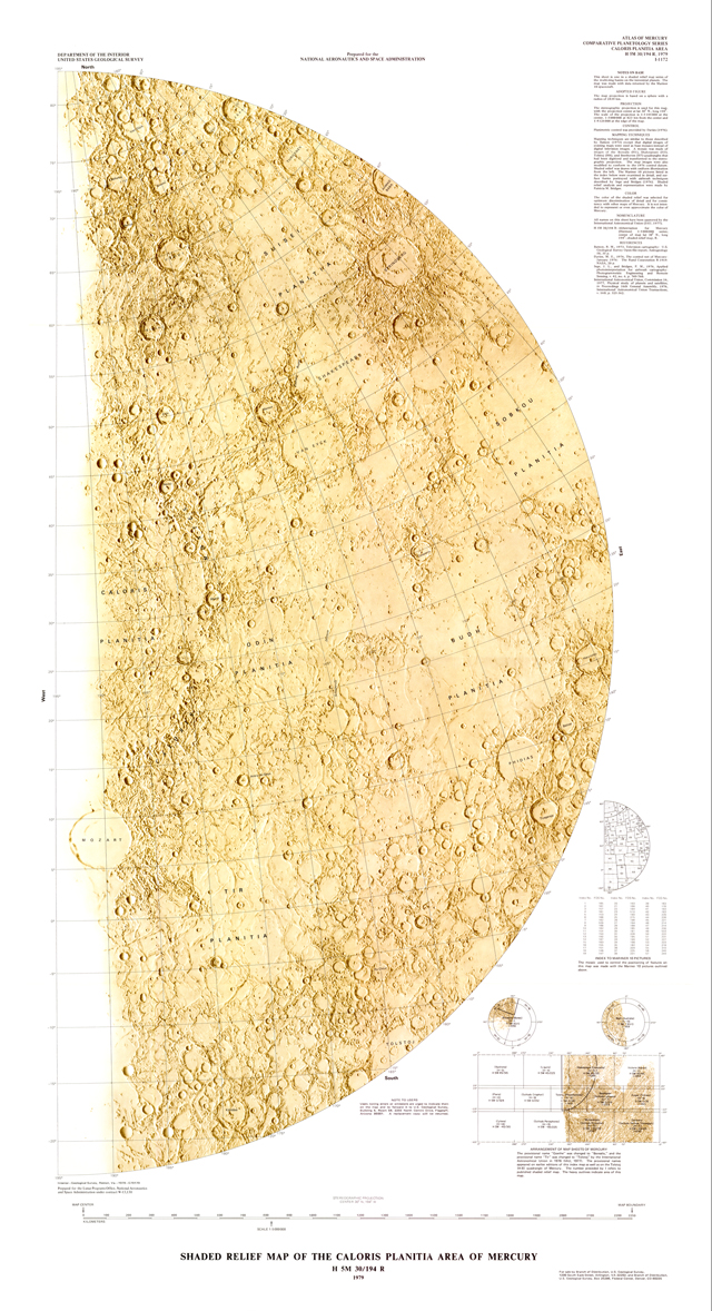 Map of the Victoria Quadrangle of Mercury.