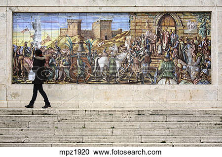 Stock Photography of The Ceramics mural, Caltagirone, Sicily.