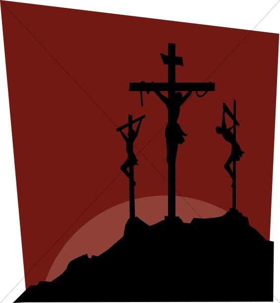 Dark Image of Calvary Crosses.