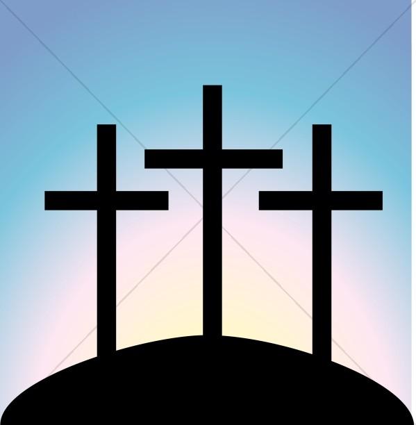 Simple Calvary Crosses at Dusk Closeup.