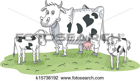 Clipart of Cow and Calves k15738192.