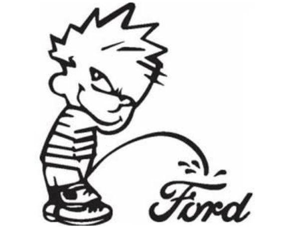 Calvin Pee on, peeing on Ford vinyl decal, window decal, window.
