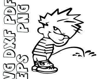 Calvin peeing.