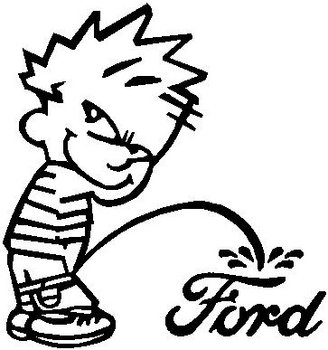 Calvin peeing on Ford, Vinyl decal sticker.