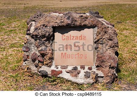 Stock Images of Avenue of the dead or Calzada de los Muertos stone.