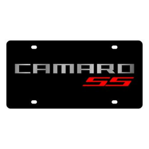 Details about Chevrolet Camaro SS Logo Black Mirror Outline Lazer Tag  Acrylic License Plate.