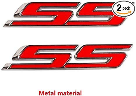 Yoaoo 2x OEM Chrome Ss Emblems Metal Decal 3D Logo for Camaro Zl1 1Le  Series Red.