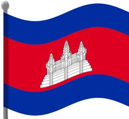 cambodia flag waving.