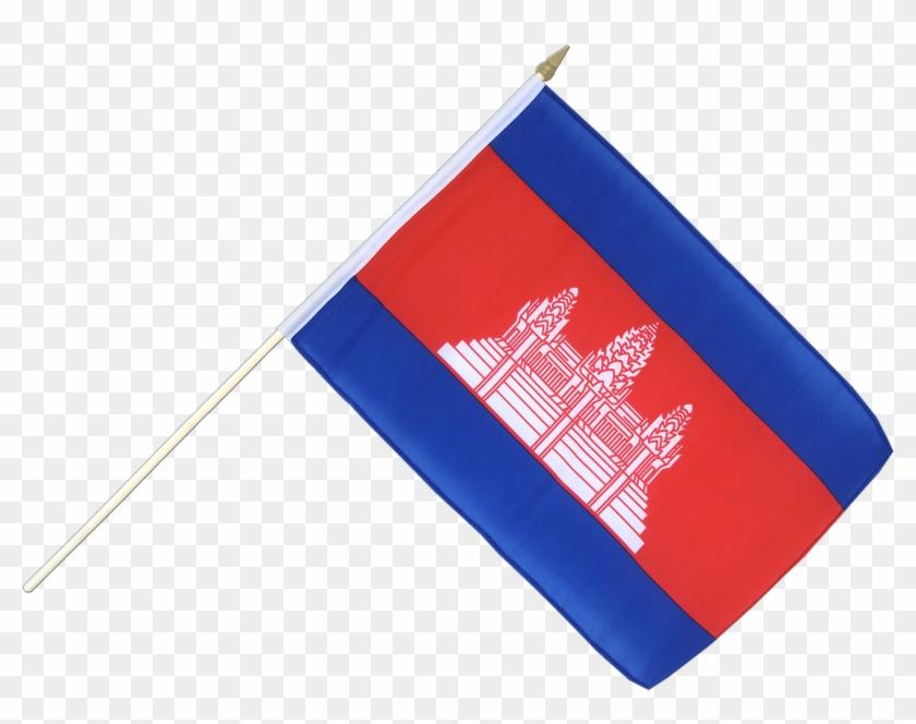 Cambodia Hand Waving Flag 12x18