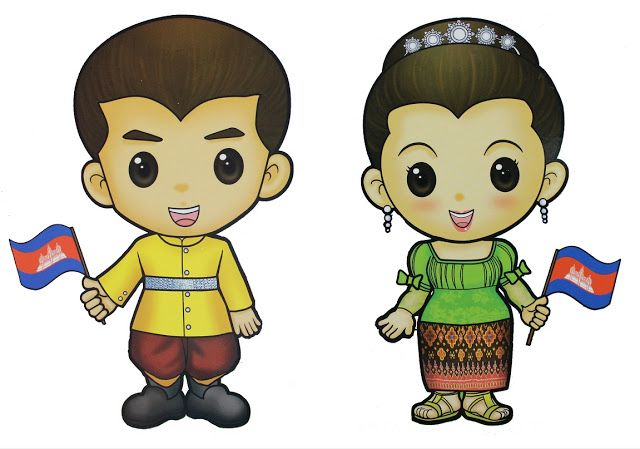 Cambodian kids clipart.