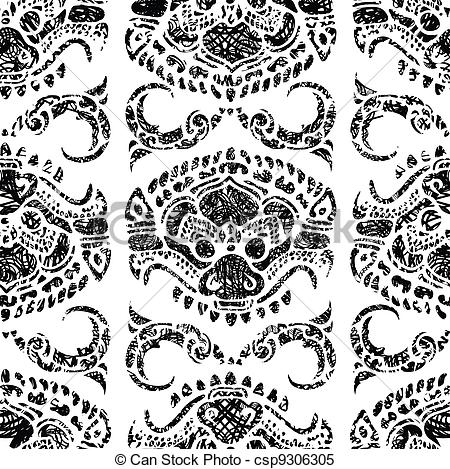 Clipart Vector of Cambodian floral pattern.