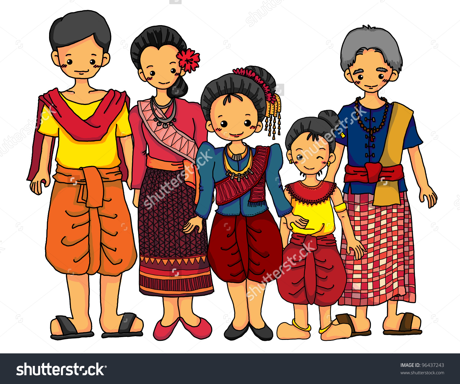 Cambodian Family Cambodian Traditional Costume Stock Illustration.