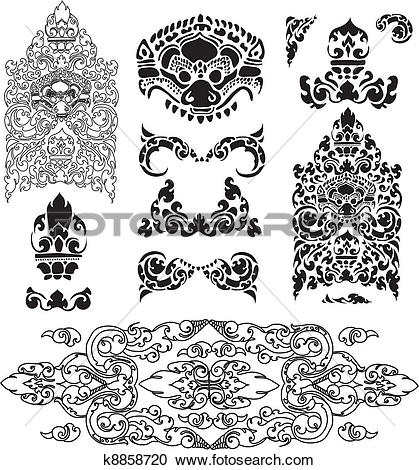 Clipart of Cambodian floral frames k8955471.