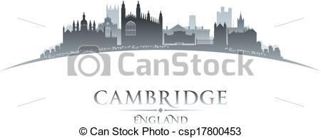 Clipart Vector of Cambridge England city skyline silhouette white.