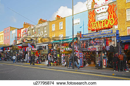 Stock Photo of England, London, Camden. Colourful shop fronts in.