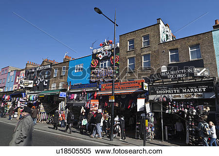 Stock Image of England, London, Camden. People shopping in the.