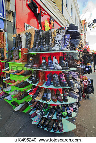 Stock Photography of England, London, Camden. Shoes on display.