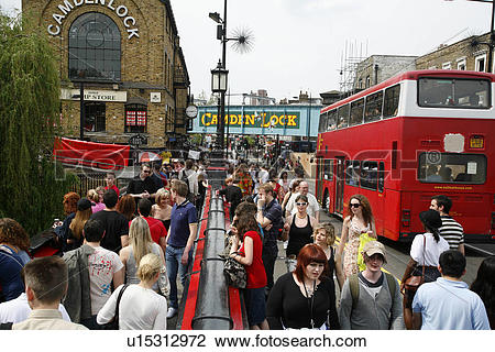 Stock Photo of England, London, Camden Town. Sightseers crossing.