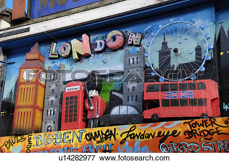 Picture of England, London, Camden Town. Collage formed from.