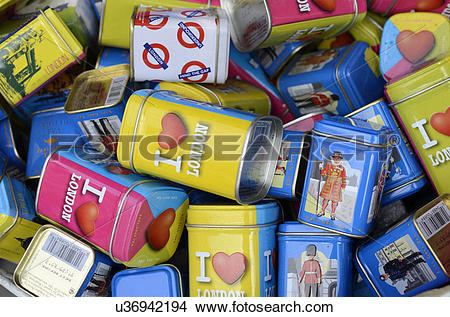 Stock Photo of England, London, Camden Town. Tins of English tea.