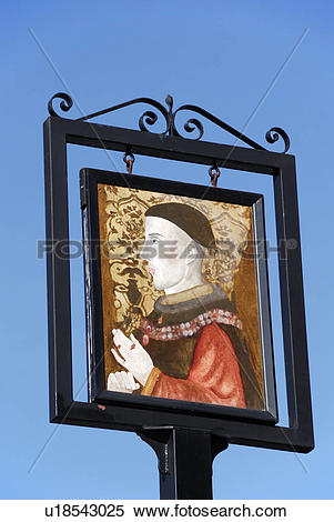Stock Image of England, London, Camden Town. Pub sign showing a.