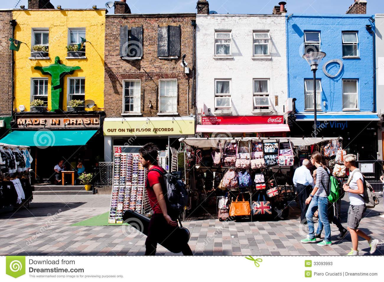 Shops In Camden Town, London Editorial Stock Photo.